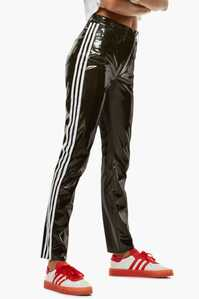 Adidas black shiny Fiorucci pvc pants