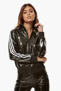 Adidas Fiorucci black shiny pvc jacket