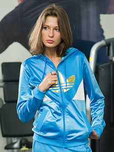 Adidas Womens Blue Hooded Shiny Polyester Tracksuit