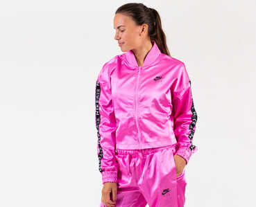 Nike Womens Pink Shiny Tracksuit Jacket and Pants Set 2
